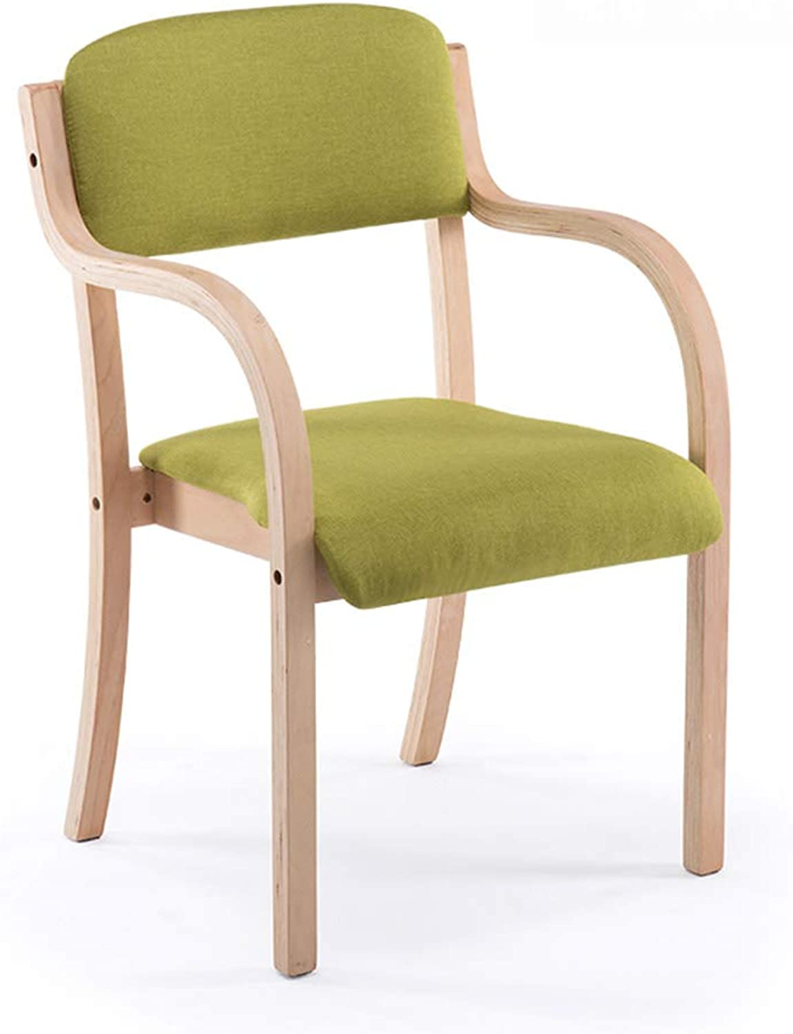 Modern Minimalist Home Curved Wood Restaurant Leisure Chair Solid Wood Back Desk Chair (color   A)