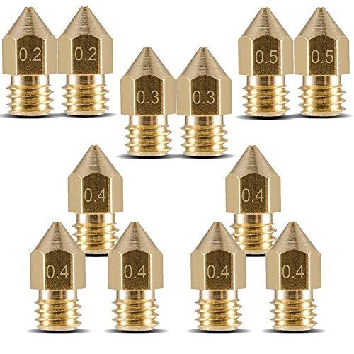 Eaone - Ugelli per testine in ottone per estrusore di stampanti 3D M6, MK8 Makerbot, 12 pezzi: 2x 0,2mm; 2x 0,3mm; 6x 0,4mm; 2x 0,5mm