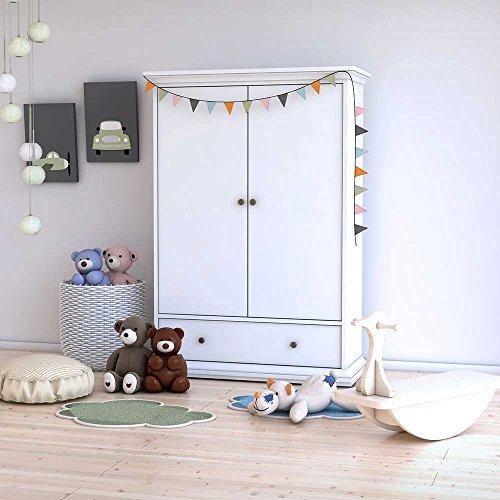 Pharao24 Kinderzimmer Kleiderschrank in Weiß 2 Türen
