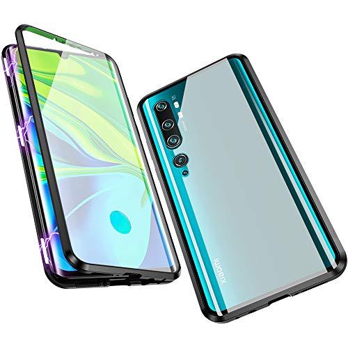 Jonwelsy Hülle für Xiaomi Mi Note 10 / CC9 Pro, Magnetische Adsorption Metall Stoßstange Flip Cover mit 360 Grad Schutz Doppelte Seiten Transparent Gehärtetes Glas Handyhülle für CC9 Pro (Schwarz)