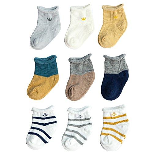 Z-Chen Calcetines de bebé niño niña (Pack de 9), 12-36 meses, Set 1