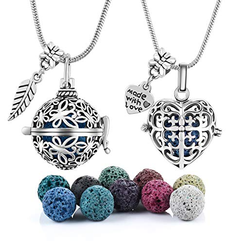 2 PCS Antique Silver Aromatherapy Essential Oil Diffuser Locket Necklace Pendant, Round / Heart Cage Locket Bulk with 10 Lava Stone Rock Beads Balls Set for Necklace Jewelry
