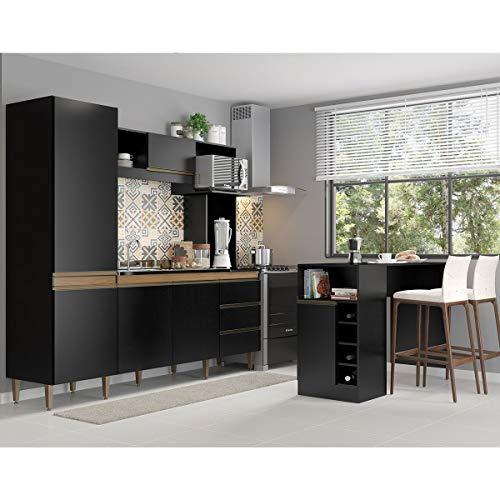 Kit Cozinha Vitória Armário 215 Cm + Ilha Bancada 140 Cm MDP Preta TX 03180535 - MENU