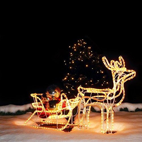 LED Rentier mit Schlitten 11 Meter Lichtschlauch für innen & außen 140 x 66 x 23cm