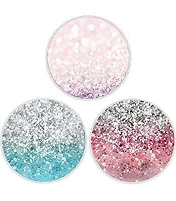 [3-Pack] Multi-Function Mounts and Stands, Premium Expanding Phone Grip Mount Socket for Smartphones Cellphones Pads and Tablets - Glitter 01