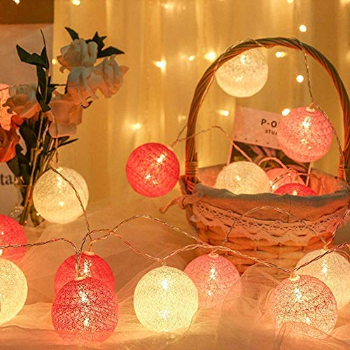 LED Cotton Ball Light String Light, 20 Cotton Balls Fairy Lights Battery Powered, 3m/10.8ft Indoor Outdoor Festival Christmas Wedding Baby Shower Party LED Decorations Lights, Pink and White