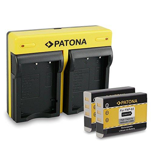 PATONA DUAL Ladegerät mit Micro USB + 2x Akku für Fuji NP-95Fujifilm FinePix F30F31fd REAL 3d w1X100Fujifilm X-S1X30X100S X100T
