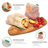 6 Sacs Réutilisables en Coton Biologique - Paquet de 6 Sacs/Double Couture, Léger avec Cordon | Sac pour Fruits et Légumes | Lavable | 6 Sacs Taille M