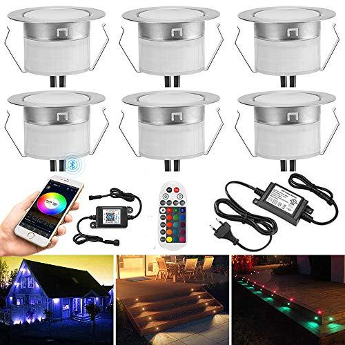 6er set Bluetooth RGBWW Led Bodeneinbaustrahle Aussen 1.2W Ø45mm IP67 Wasserdicht LED Einbaustrahler Terrasse Küche Garten Led Lampe Full Kit