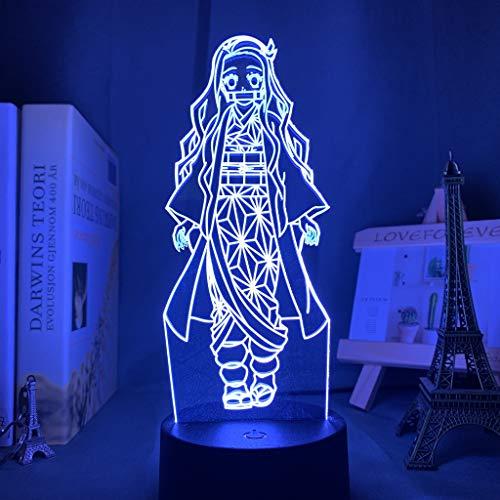 Anime Demon Slayer Gesicht Spleiß Acryl LED Nachtlicht für Kinder Kind Schlafzimmer Dekor Cooles Nachtlicht Kimetsu No Yaiba Lampe Geschenk