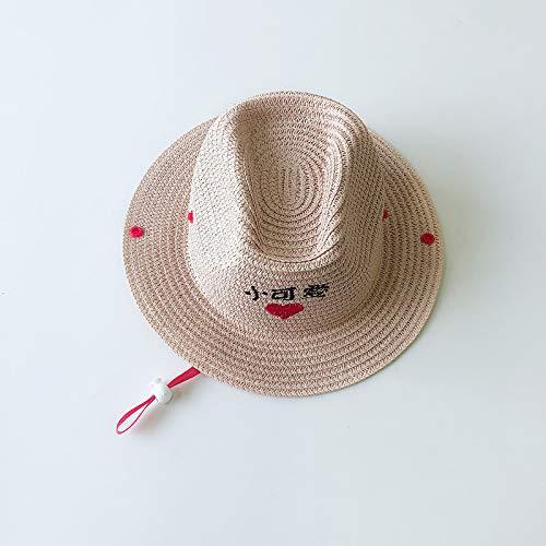 mlpnko Kinder Strohhut Junge Cowboy Hut Baby Kind Hut Junge Mädchen atmungsaktiv Sonnenschirm Hut rosa 51cm