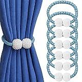 Abrazaderas magnéticas para cortina, paquete de 6 corbatas, no requiere perforación, clips para cortina, soportes de cuerda, prácticos alzapaños para decoración de cuerda (azul)