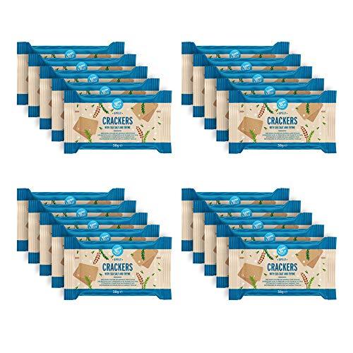 Amazon-Marke: Happy Belly - Dinkel-Cracker, Thymian & Meersalz, 4 x 190 g