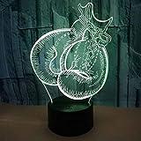 Mood Lights Guantes de boxeo Deportes 3D LED Night Lights 7 colores USB Lámpara de mesa Control remoto Dormitorio Humor Regalo creativo Acrílico Decoración del hogar Niños s Cumpleaños Navidad (ZYJHD)