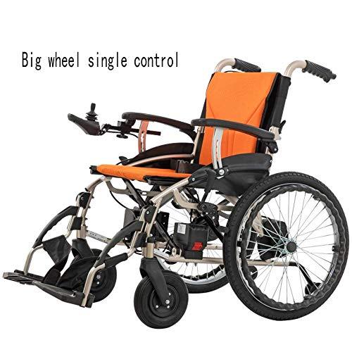 Kompakter Elektrorollstuhl mit Mittelantrieb, Lite Cruiser Deluxe - Mobilitätshilfe Intelligente elektronische Bremse Kann im Flugzeug Sein, in die U-Bahn gehen, manueller Rollstuhl,Gelb.