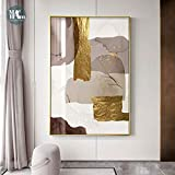 Wfmhra Lienzo de mármol Abstracto Pintura de impresión Cartel de lámina de Oro marrón Cuadro Mural Moderno en Lienzo Sala de Estar Oficina Decoración del hogar 50X70cm Sin Marco
