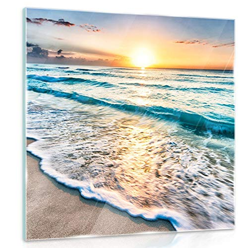 ForWall Glasbild Glasfoto Echtglas Wandbild Strand Sonnenuntergang G4 (50cm. x 50cm.) AMFGT11040G4 Strand Sand Sonne Sonnenuntergang Wasser Meer