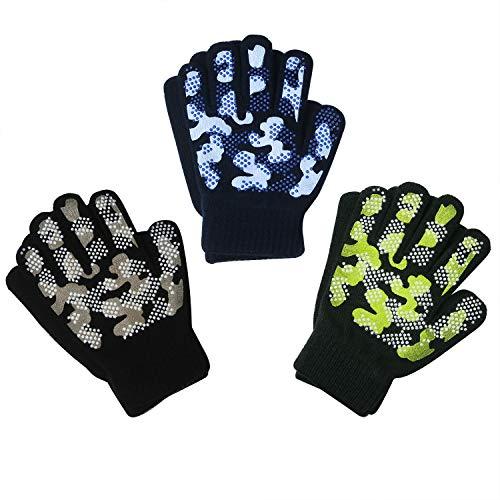 EvridWear Boys Girls Magic Stretch Gripper Gloves 3 Pair Pack Assortment, Kids One Size Winter Warm Gloves Children (3 Pairs Camo, 6-8Years)