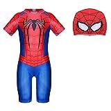 Jungen Badeanzug Spiderman Badeanzug Badebekleidung Bademode Schwimmhose Uv Schutz Shirt Kinder Mit Sonnenhut, Rot, 110 / 3-4 Jahre