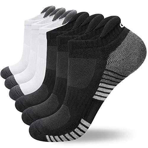 coskefy Sneaker Socken Herren/Damen Baumwollesocken Atmungsaktiv Sport Gepolsterte Lauf /Knöchel/Outdoor Söckchen, 6 Paar ,Schwarz-2(3 Paare)+weiß-2(3 Paare),39-42