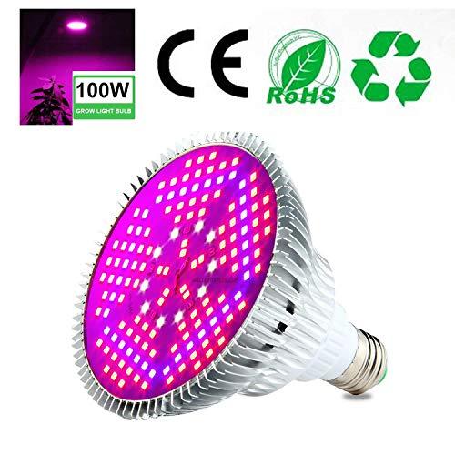 Pawaca 100W LED Lampadina per Piante A Spettro Completo Lampada per Piante da Interno Adatta A Tutti I Tipi di Piante, Luce Solare in Serra (150 LED)