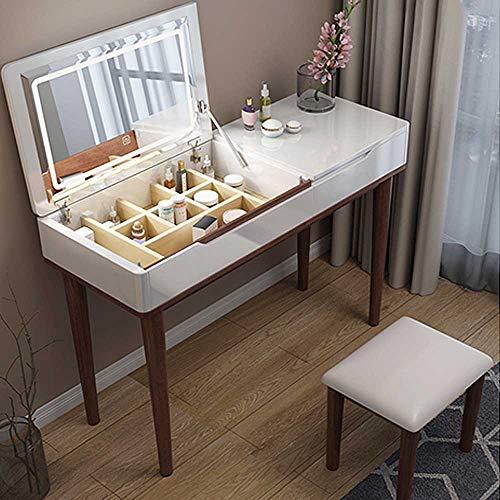 MYAOU Weißer Schminktisch mit Kosmetikschubladen Schminktisch mit Stuhl Klappbare LED-Lichter Spiegel Massivholzbeine Waschtisch für Mädchen 80cm