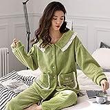 パジャマパンツレディース, 秋と冬の暖かい女性のパジャマを厚く -N703-M, 夏と秋のナイトガウンセットに適しています
