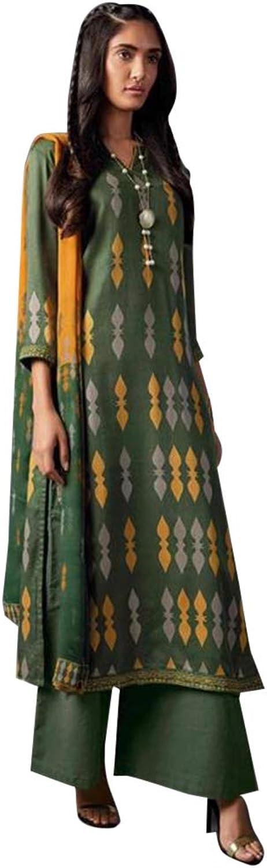 Green Ethnic Printed Cotton Satin Straight Salwar Kameez Suit for Women Indian Designer dress 7744