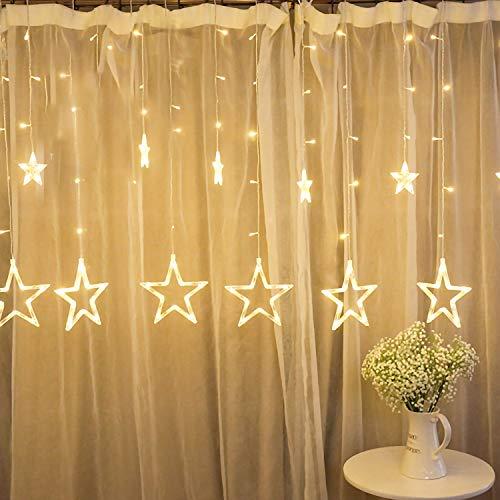 wolketon LED Lichtervorhang, Sterne WeihnachtenBeleuchtung, Warmweiß Vorhang Lichterkette mit 12 Sterne, Wasserfest LED Lichterkette für Weihnachten, Partydekoration, Innenbeleuchtung