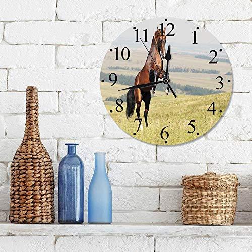 """12""""Horloge Muette Pendule Murale de Mode Cadre Chevaux, baie, Akhal, teke, étalon cheval, élevage, sur, les, noble, mammifère, dehors, p,horloges pour la Maison Salon Cuisine Chambre Bureau école"""