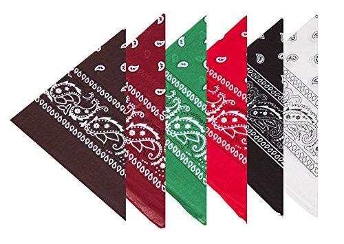 Boolavard 100% Baumwolle, 6er Pack Bandanas mit original Paisley Muster, 6er Gemischt Sortierung 3