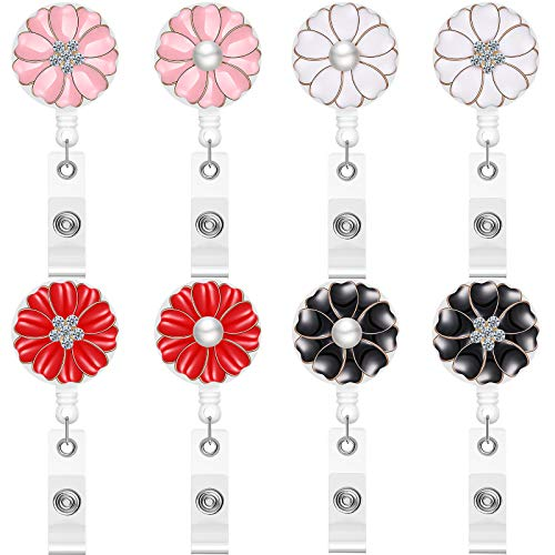 8 Pieces 24 Inch Retractable Badge Reels, Camellia Petals ID Badge Holder with Retractable Cord and Rotatable Swivel Alligator Clip, ID Badge Clip Reel with Pearl and Rhinestone