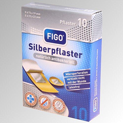 Figo 10 Silberpflaster 2 Größen, Latexfrei, antibakteriell