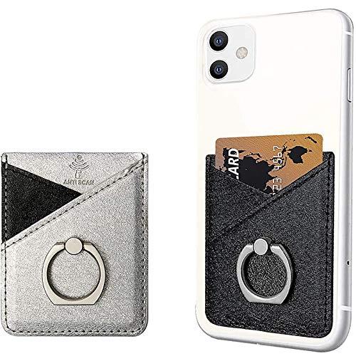 takyu - Soporte para 2 Tarjetas de Smartphone (Piel sintética, Tarjetero, RFID), Color Negro y Plateado