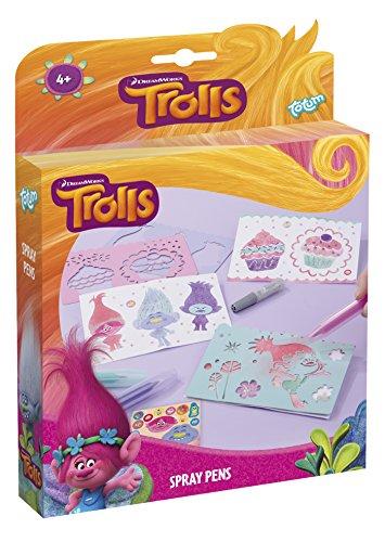 Trolls Bastel-Set Spray-Pens – Pustestift-Bilder mit Schablonen, Stiften, Glitzer und Stickern