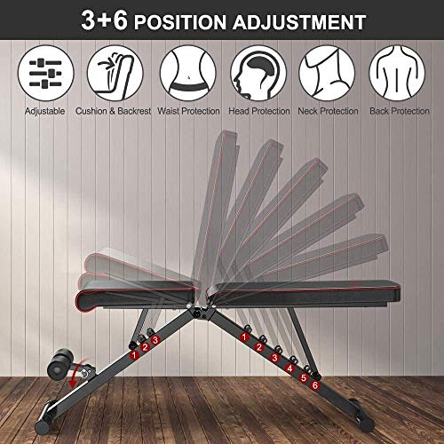 Product Image 3: Yoleo Adjustable Weight Bench, Upgrade Version- Seat/Back/Feet Adjustable, 550 lbs Capacity, Folding Flat/Incline/Decline FID Bench, Perfect for Full Body Workouts and Home Gym