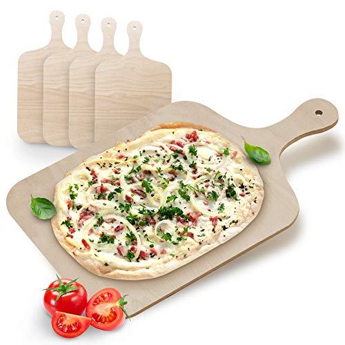 4x Flammkuchenbrett Holz Pizza Holzbrett mit Griff Servierbrett Flammkuchen Brettchen Servier Holzplatte Pizzaschieber für Pizzastein Brotschaufel Pizzaschaufel für den Grill