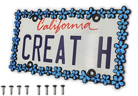 creathome 3D Shining Daisy Wrenth License Plate Frame from Pure Zinc Alloy Metal Perfect Plate product image
