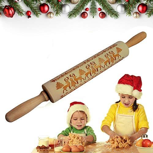Cevikno - Mattarello in legno 3D, con motivo natalizio, per pasta di zucchero, pizza, biscotti, torte, pasta di Natale