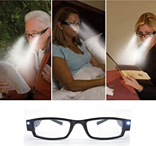 KIKAR Presbyopia LED light (+1.00) Unisex Reading Glasses with Sturdy Stylish Case - Improve your vision even in the dark!