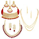 Sukkhi Sensational Pearl Gold Plated Wedding Jewellery Kundan Set of 3 Necklace Combo for Women (SKR48722)