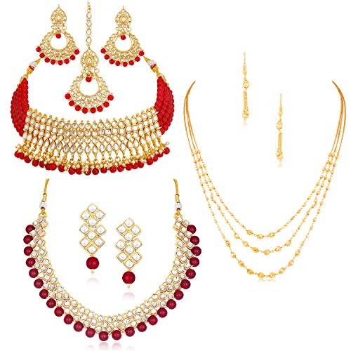 Sukkhi Sensational Pearl Gold Plated Wedding Jewellery Kundan Set of 3 Necklace...