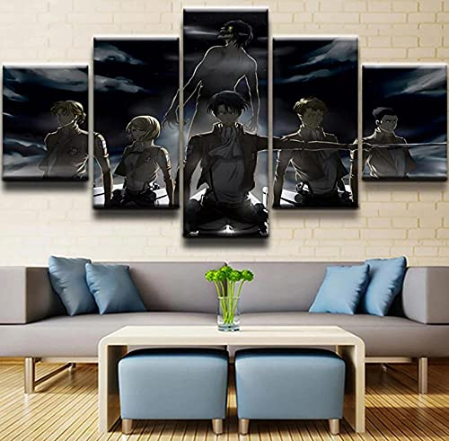 DBFHC Cuadros Modernos Impresión De Imagen Artística Digitalizada Ataque En Titan Lienzo Decorativo para Salón O Dormitorio 5 Piezas XXL