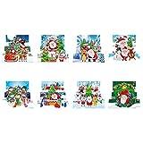 8 piezas de tarjetas de felicitación con diamantes de bricolaje, con forma especial, con taladro, postal navideña