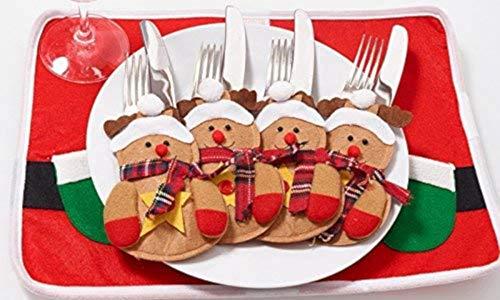 EGLEMTEK Set di 4 Portaposate (2 Pan di Zenzero + 2 Babbo Natale)