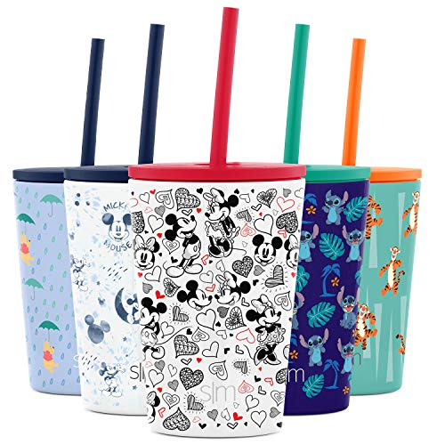 Simple Modern Disney Water Bottle for Kids Reusable Cup with Straw Sippy Lid Insulated Stainless Steel Thermos Tumbler for Toddlers Girls Boys, 12oz, Mickey Mouse Loves Minnie Mouse