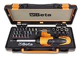 Beta 860/C38P 1 portainserti con impugnatura a criccheto reversibile, 27 inserti per avvitatori, 8 bussole esagonali e 2 accessori in cassetta di lamiera con termoformato morbido