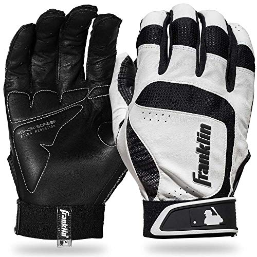 Franklin Sports MLB Adult Shok-Sorb Neo Batting Gloves, White/Black, X-Large
