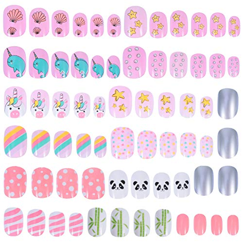 SOLUSTRE Girls Press on Nails Kids False Nails Children Artificial Fake Nail Tips Pre Glue Full Cover Short Nails for Girls Kids Teens Nail Art Decoration 72pcs Style 1