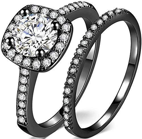 LWJYX White Gold | Rose Gold |Yellow Gold | Black Gold Wedding Engagement Ring for Women 2 Carat Round Cut Cz Promise Eternity Band Bridal Set Halo Ring Size 4-13.5